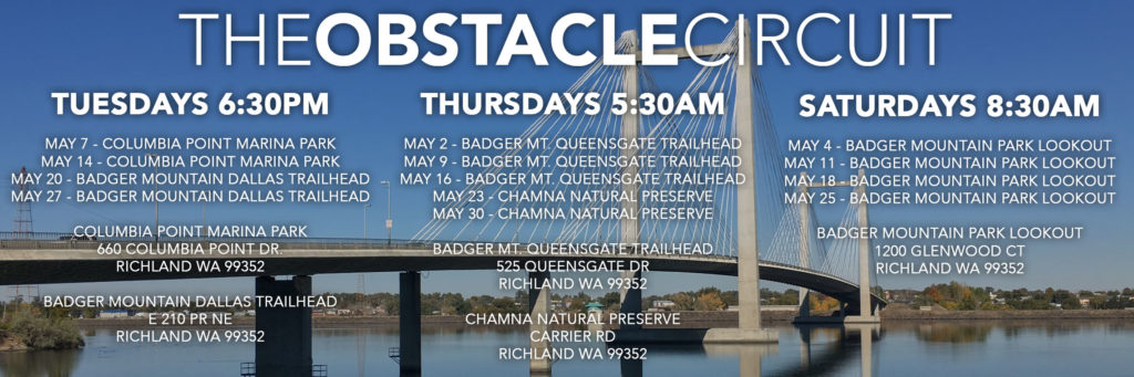 The Obstacle Circuit May 2019 Class Schedule and Locations.
